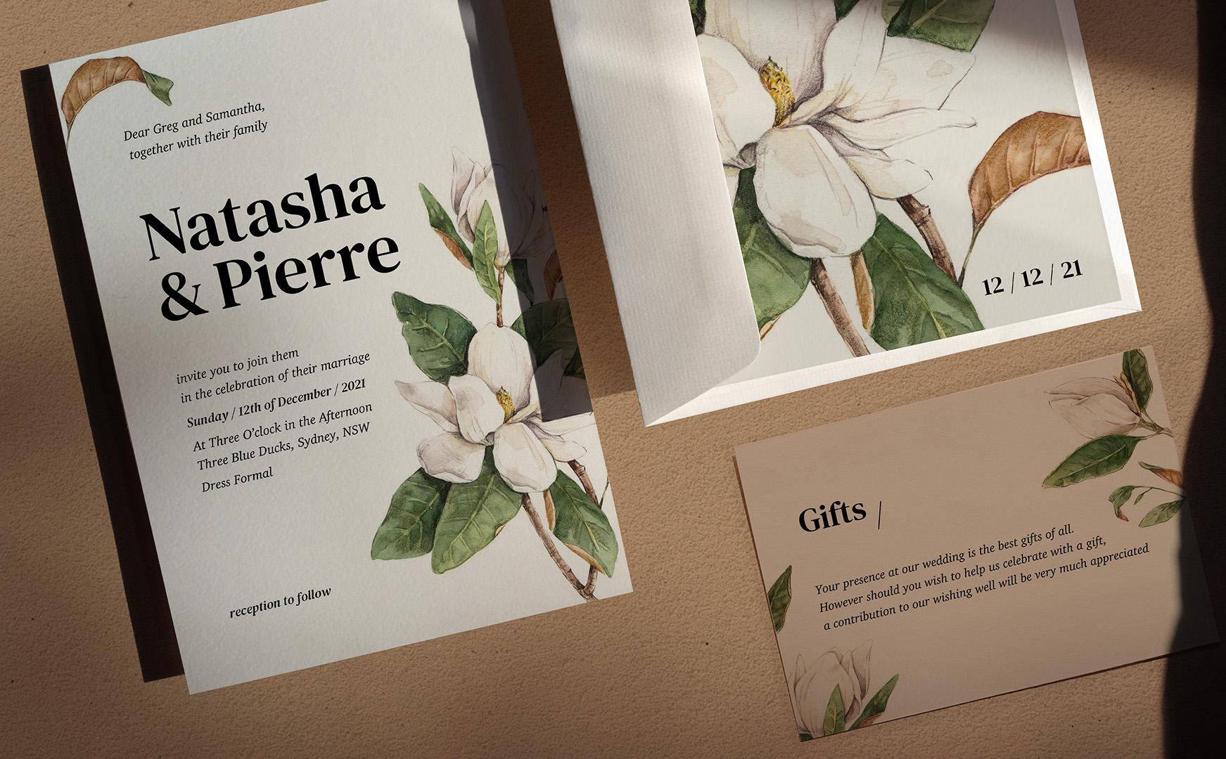 Wedding nvitation magnolia
